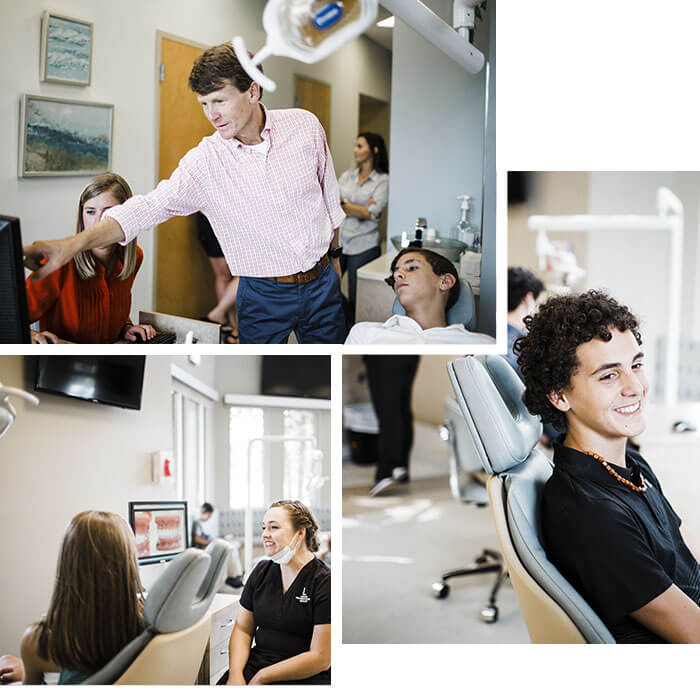 Collage showing Dr. Lucas, an Orthodontist in Brentwood TN, helping a patient, one of our top patients, and how we truly care