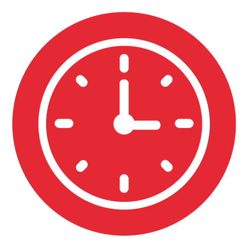 Icon of a red clock