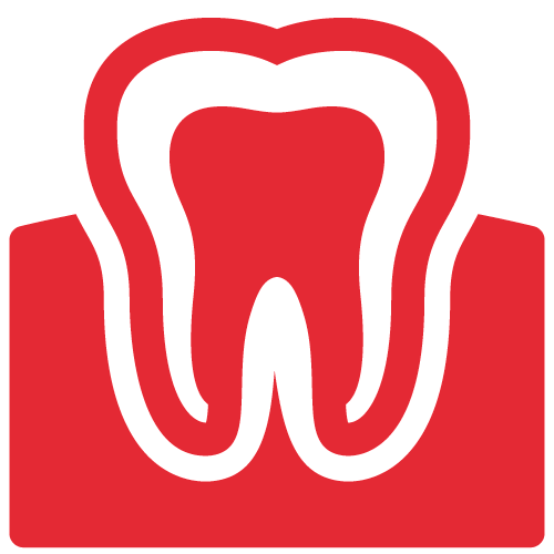 Red icon of a tooth sitting in the gums