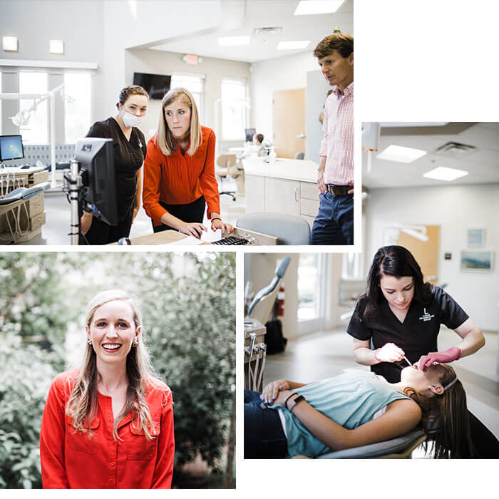 A collage of three separate shots showing how our orthodontist in Nashville, TN and their team care for our patients