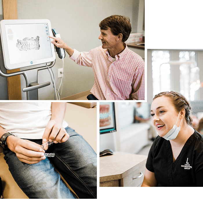 Collage of Dr. Lucas with a woman patient before he starts his Invisalign® treatment